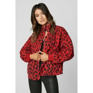 BLANKNYC Denim Quilted Leopard Print Jacket Size S